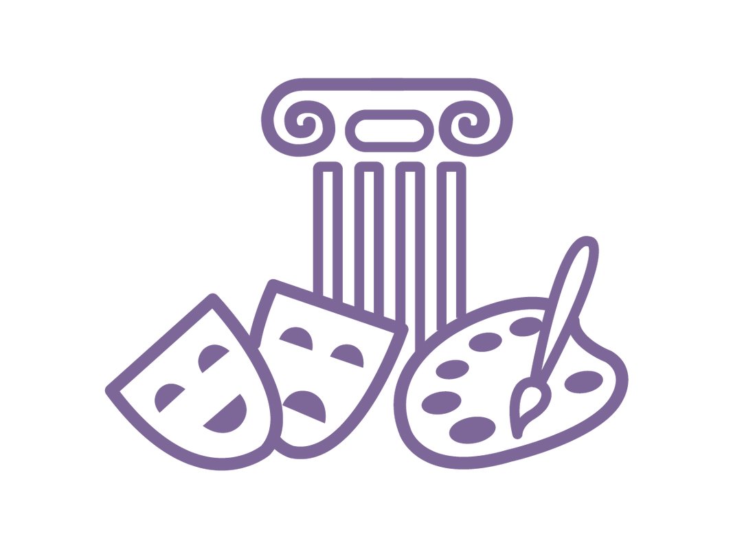 Purple illustrated icon of two masks (one happy and one sad), a palette and paintbrush, and a short column.